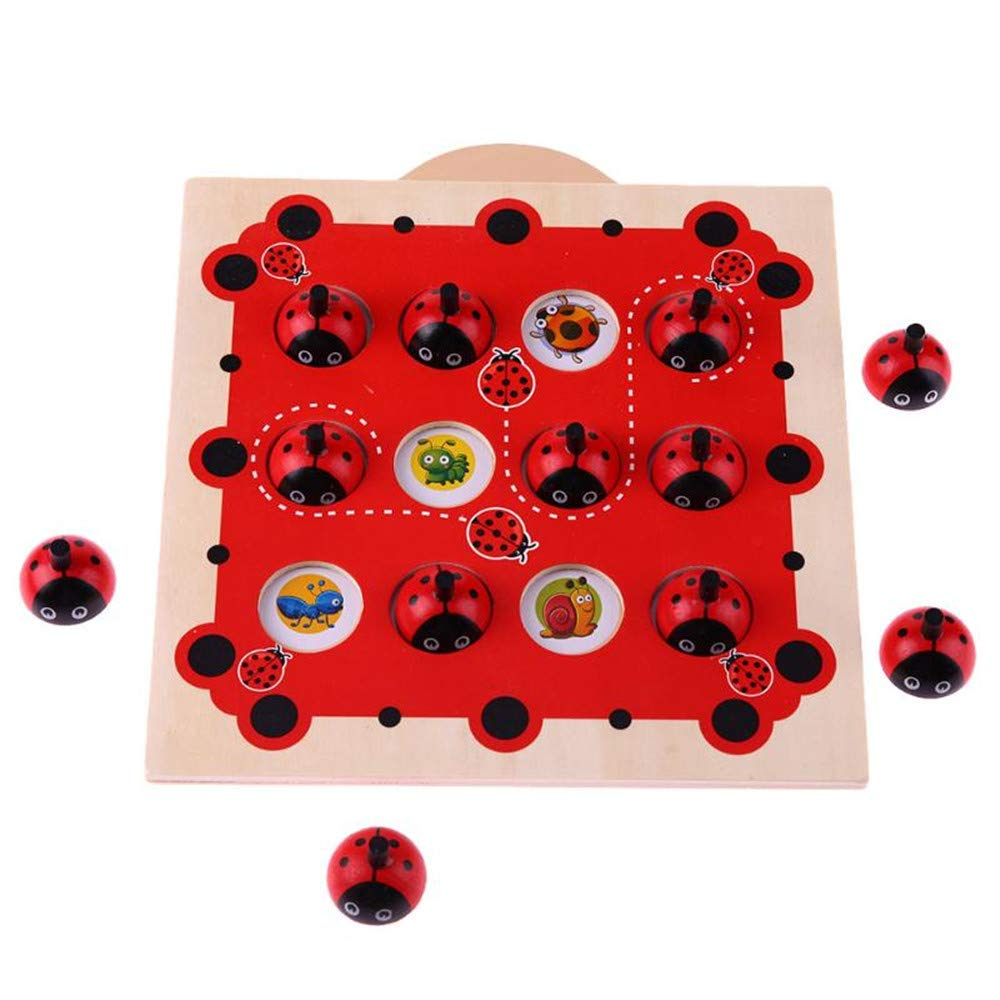 Early Education Toys for Toddler,MeiLiio Wooden Cartoon Ladybug Design Kids Memory Training Game Animal Patterns Matching Game Early Education Toy for Children Toddler Kids Girls Boys