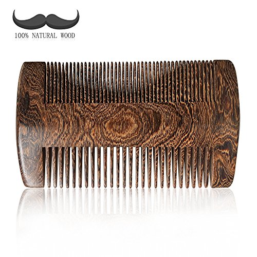 Beard Comb, Eyros wooden beard comb with case 100% Handmade anti static natural dark sandalwood for men Dual action fine and coarse teeth use with oil,pocket comb for beard and mustaches (8FINE BLACK)