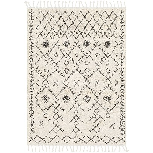 Spencer Ivory and Charcoal Bohemian/Global Area Rug 7'10