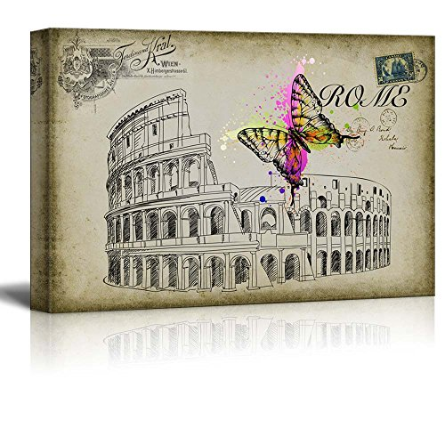 Sketching of Roma with a Brightly Splashed Butterfly