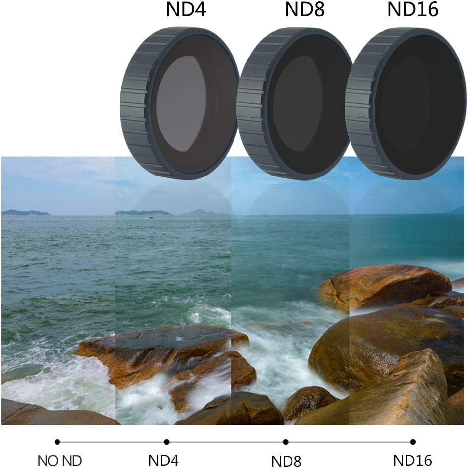 ND4,ND8,ND16 for DJI Osmo Action Cameras Mcoplus-Osmo Action Filters-3 Packs