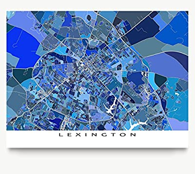 Lexington Map Print, Kentucky USA, Digital Street Art, Blue