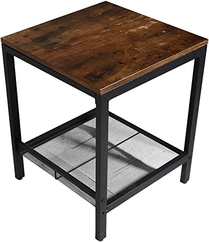 Hmlinktt Home Decoration Small Square Coffee Table with Storage Rack, Sturdy Metal Frame,Brown