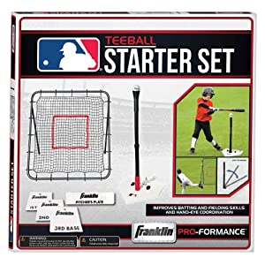 Franklin Sports MLB Teeball Starter Set - Throw Down Baseball Bases, Batting Tee and Pitch Back - Complete Teeball Equipment Set