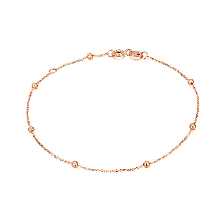 SISGEM 14K, 18K Gold Bracelets for Women Girls, Bead Ball Dainty Thin Chain Bracelets Real Gold, 6.35