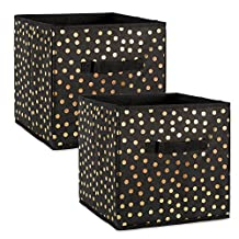 """DII Foldable Small Dots Fabric Storage Containers for Cube Organizers, Toys, Cloths or Knick Knacks (Set of 4), 13 x 13 x 13"""", Gold/Black"""