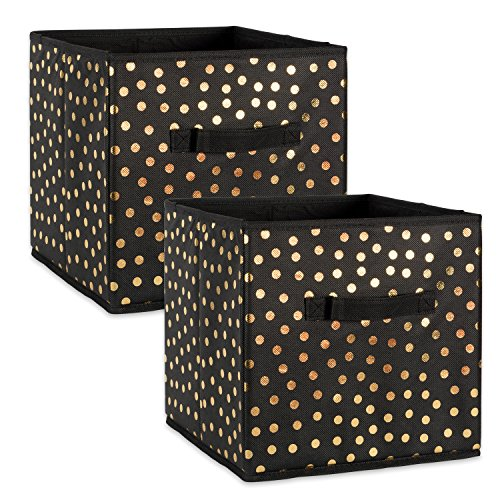 DII Fabric Storage Bins for Nursery, Offices, Home Organization, Containers Are Made To Fit Standard Cube Organizers (11x11x11) Black with Gold Dots – Set of 2