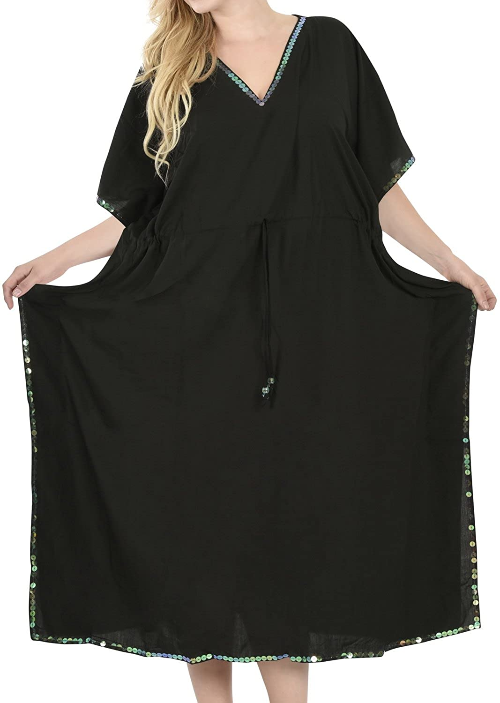 cheap LA LEELA Frauen Damen Rayon Kaftan Tunika Plain Kimono freie