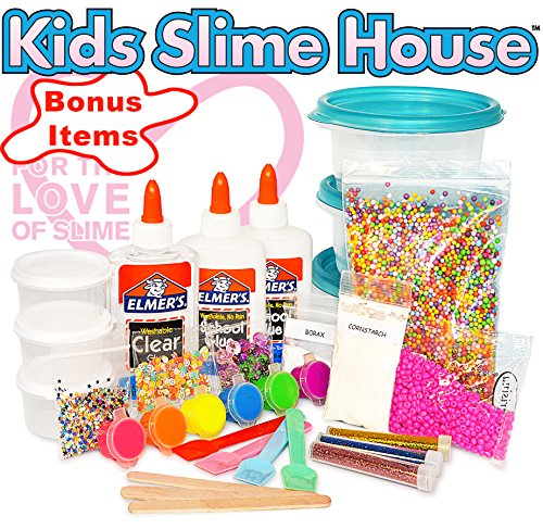 Fluffy House - Kids Slime House SLIME KIT WITH ALL SLIME SUPPLIES MAKES FLUFFY SLIME UNICORN SLIME CRUNCHY SLIME DIY SLIME KIT WITH AND SLIME CONTAINERS BEADS GLITTER SLIME CHARMS BONUS GIFTS FOR GIRLS AND BOYS