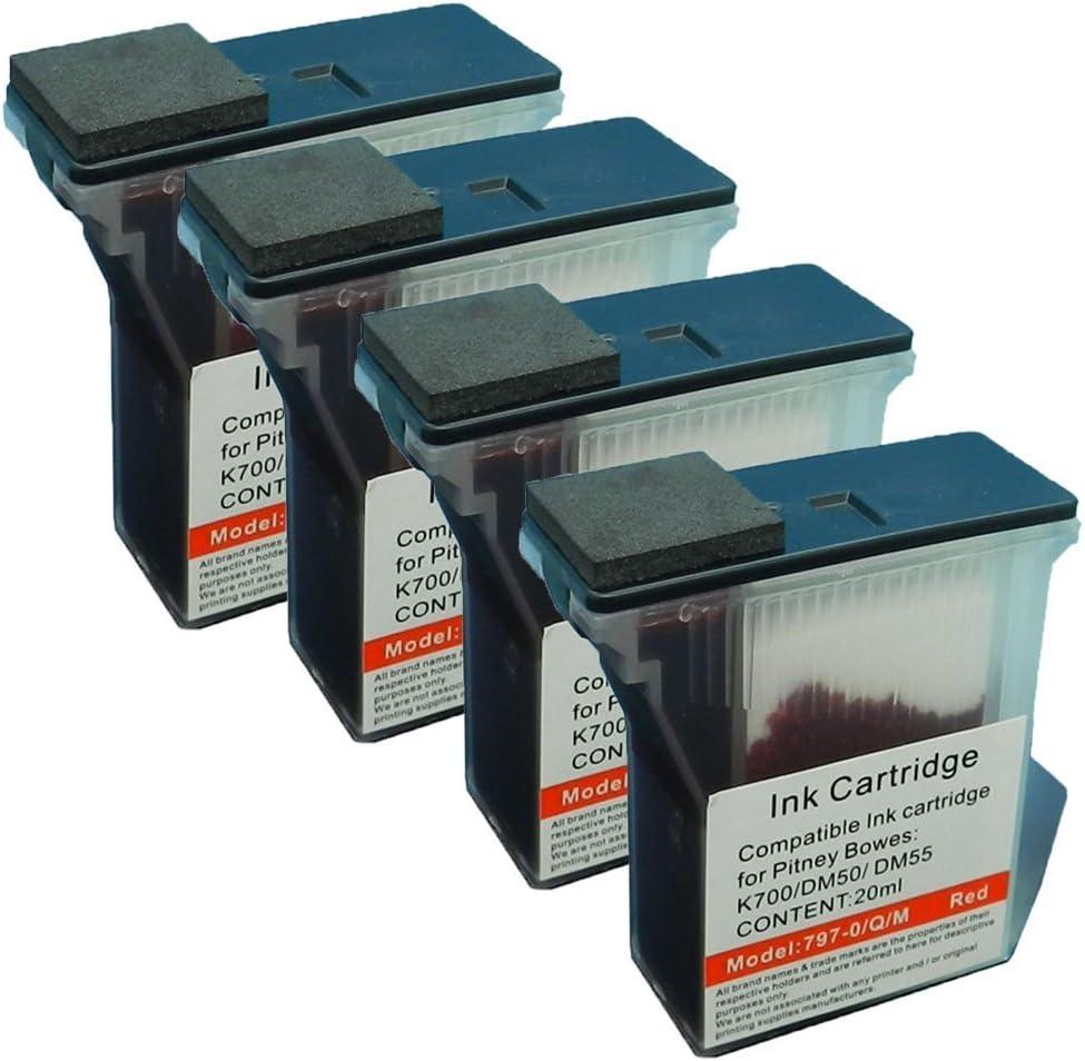 2 797-0 797-Q 797-M Red INK Cartridge For Pitney Bowes Mailstation 1 2 K700 K7M0