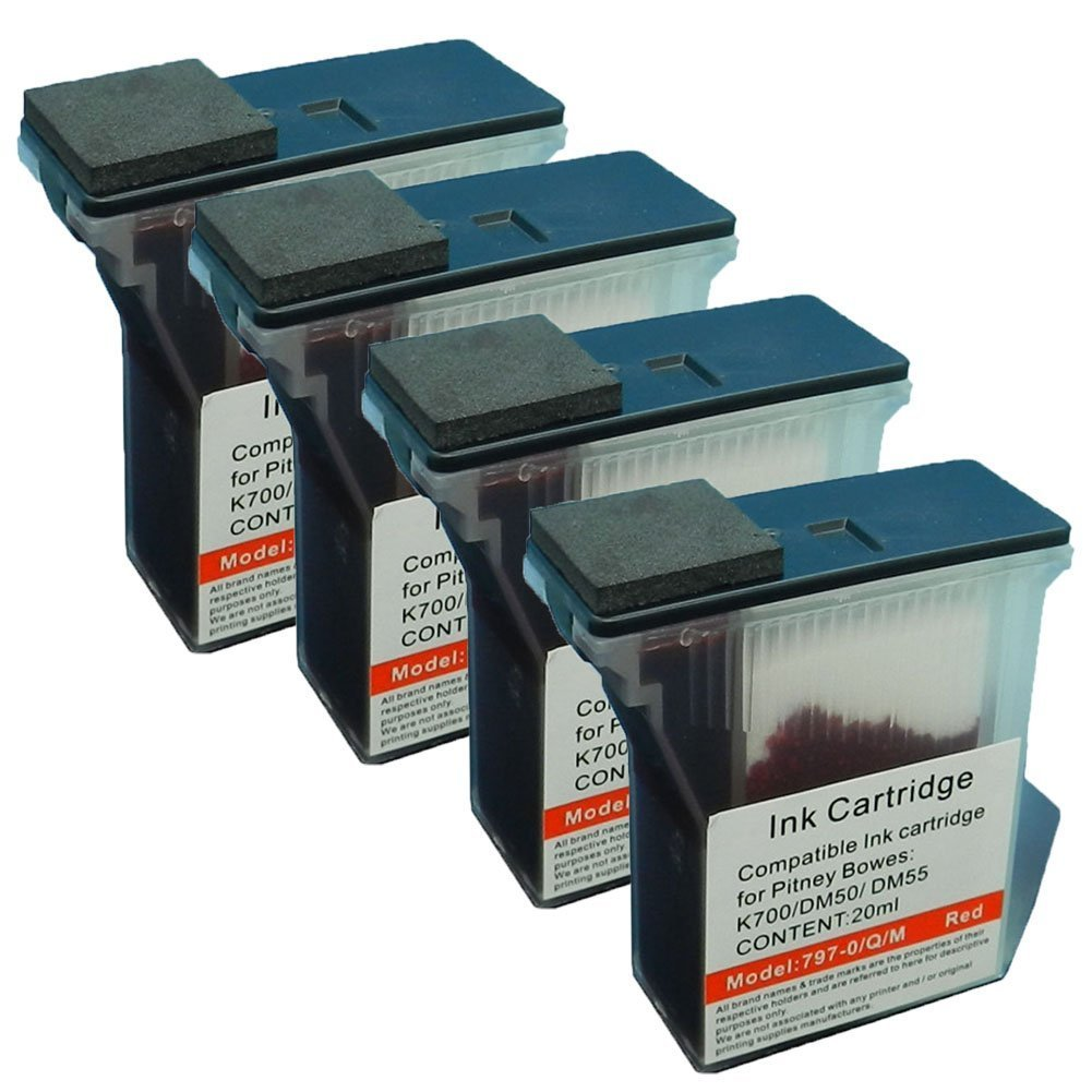 Colour-Store 4x Pitney Bowes 797-0, 797-M, 797-Q New Compatible Red Fluorescent Ink Cartridge For Mailstation 2 K700 K7M0