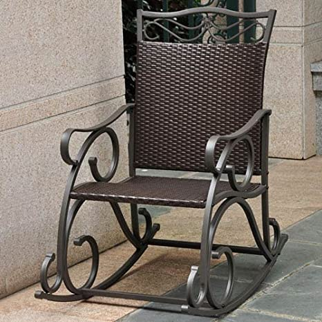 Amazoncom Lisbon Resin Wicker And Steel Rocking Chair Living