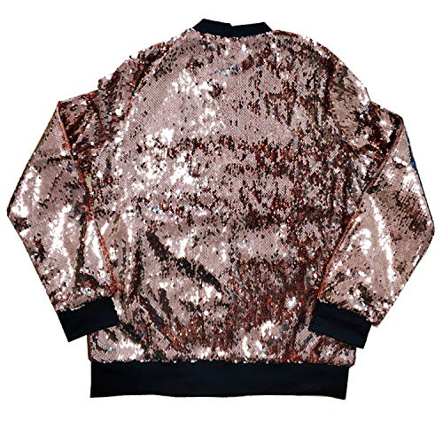 Cresay Women's Sequin Fitted Long Sleeve Zipper Blazer Bomber Jacket-Rose Gold S by Cresay (Image #3)