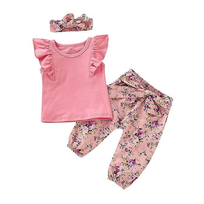 BURFLY Baby Kind M/ädchen Schultergurt hohl tr/ägerlos T-Shirt Top Floral Hose zweiteilig l/ässig Partyanzug Anzug