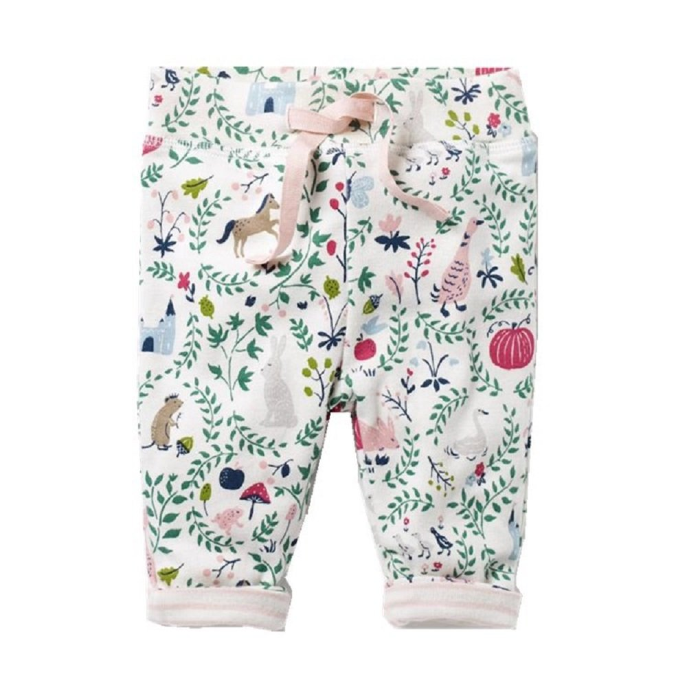 Hongshilian Boys Girls Cotton Drawstring Elastic Sweatpants Kid's Cartoon Pants (4T, Animal & White)