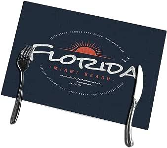 6pcs Manteles individuales de mesa de comedor Florida Miami Beach Manteles individuales resistentes al calor