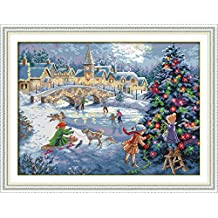 YEESAM ART New Cross Stitch Kits Advanced Patterns for Beginners Kids Adults - Christmas Celebration 11 CT Stamped 66×51 cm - DIY Needlework Wedding Christmas Gifts