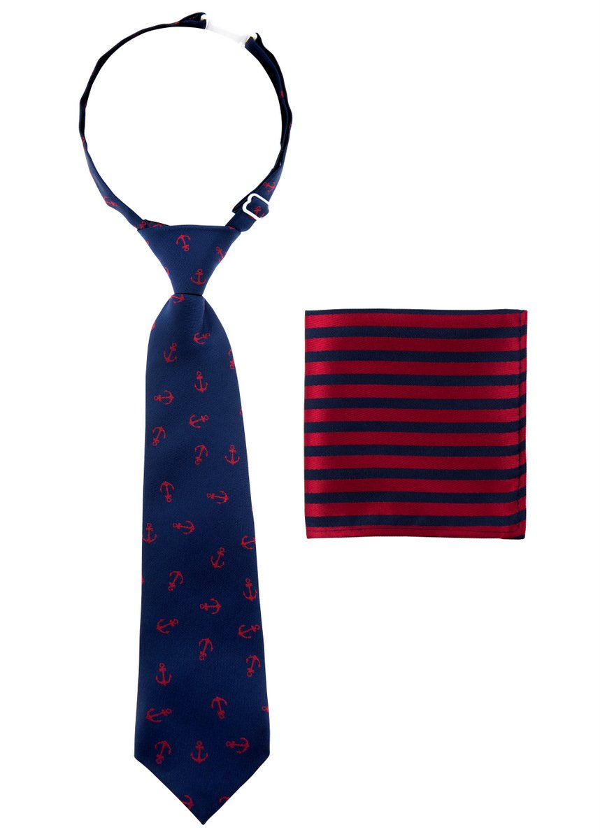 Canacana Classic Anchor Woven Microfiber Pre-tied Boy's Tie with Stripes Pocket Square Gift Box Set - Navy Blue and Red - 24 months - 4 years, Christmas gift