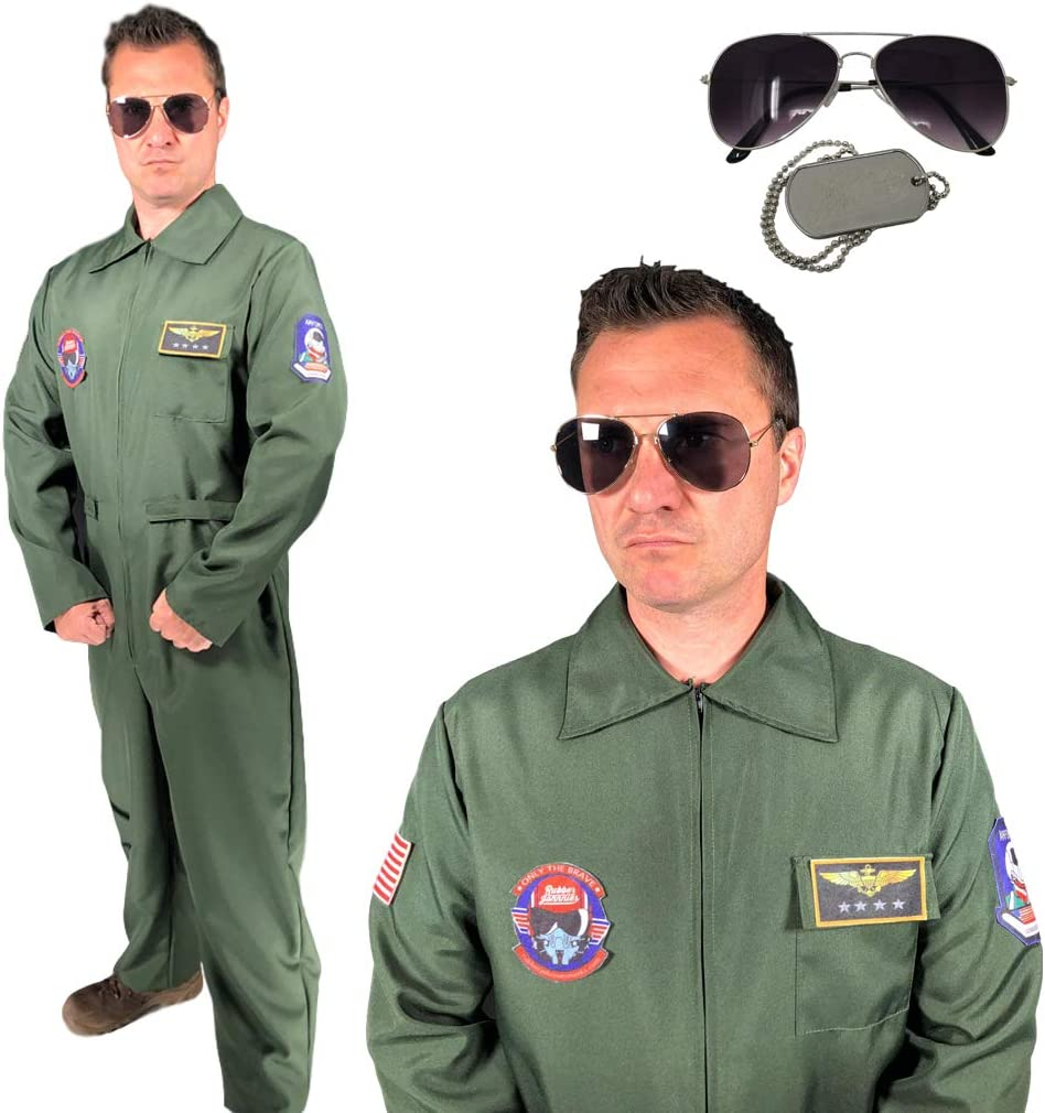 Rubber Johnnies TM Adulto Hombre Piloto Disfraz Capitán Flight ...