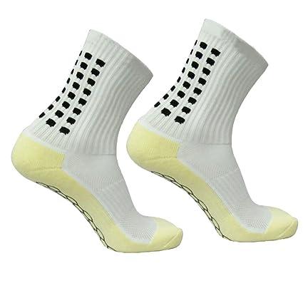 WINOMO Calcetines antideslizantes de fútbol para hombres Calcetines cortos de fútbol (blanco)