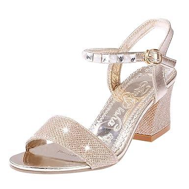 d0ff13b86c7e Women s Crystal Low Block Heel Dress Sandal Open Toe Ankle Strap Pump Beach  Sandals (Gold