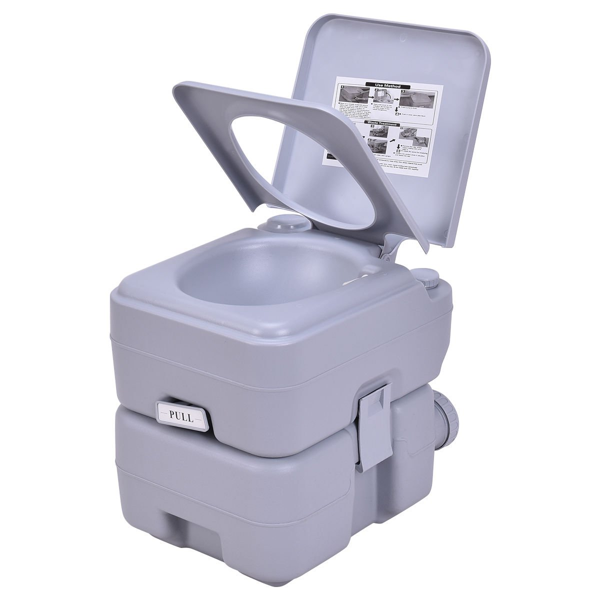 COLIBROX--5 Gallon 20L Portable Toilet Flush Travel Camping Outdoor/Indoor Potty Commode,walters portable toilets,cheap toilets,luxury portable toilet,rei portable toilets,portable toilets for home us by COLIBROX (Image #4)