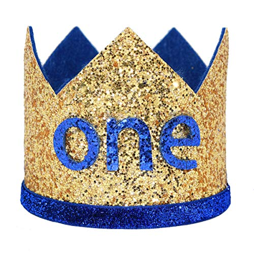 Boy First Birthday Crown Number 1 Headband Little Prince Princess Cake Smash Photo Prop (Large Gold & Royal One) ()
