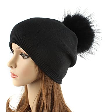 15a13e32cd64d Tinksky Women Winter Hats Knitted Beanie Cap Hat Warm with Fluffy Ball Top for  Women Girls (Black)  Amazon.co.uk  Clothing
