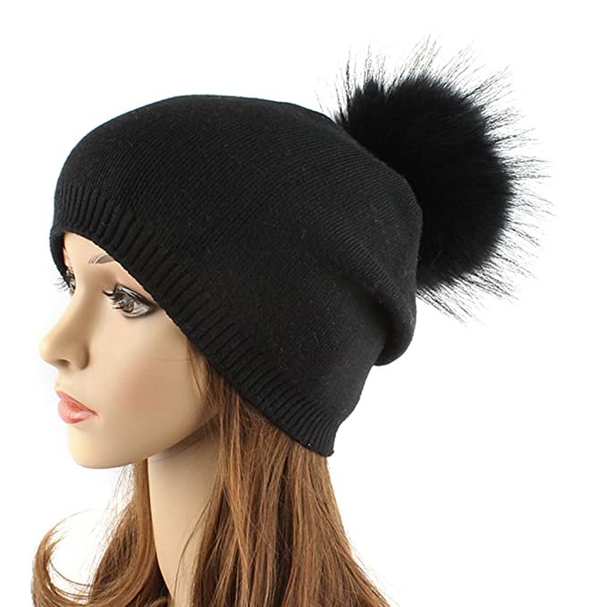 TINKSKY Women Winter Hats Fashionable Knit Beanie Cap Hat Warm With ... 5ed114f7062