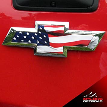 2 NEW CUSTOM CHROME USA FLAG BADGES EMBLEMS CHEVROLET DODGE FORD GMC TOYOTA