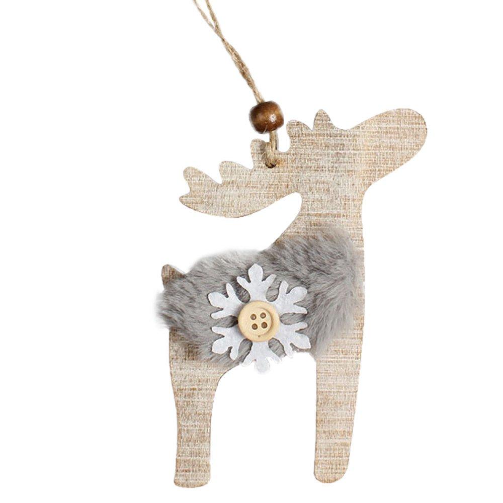 Whitegeese Snowflake Wooden Christmas Tree Rustic DIY Hanging Tags Pendant Decor Christmas Decorations (E)