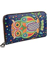 YALUXE Women's Owl Large Genuine Leather Zipper Wallet Coin Case Phone Checkbook Card Holder