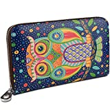 YALUXE Women's Owl Print Real Leather Large Zipper Clutch Wallet Phone Passport Checkbook Holder Blue