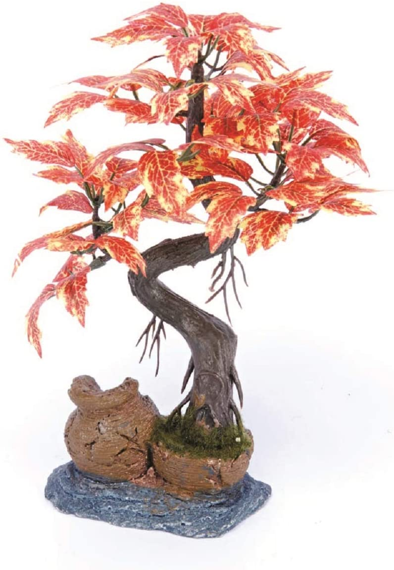 Pennplax Red Bonsai Tree Aquarium Decor, 8-Inch - RR969