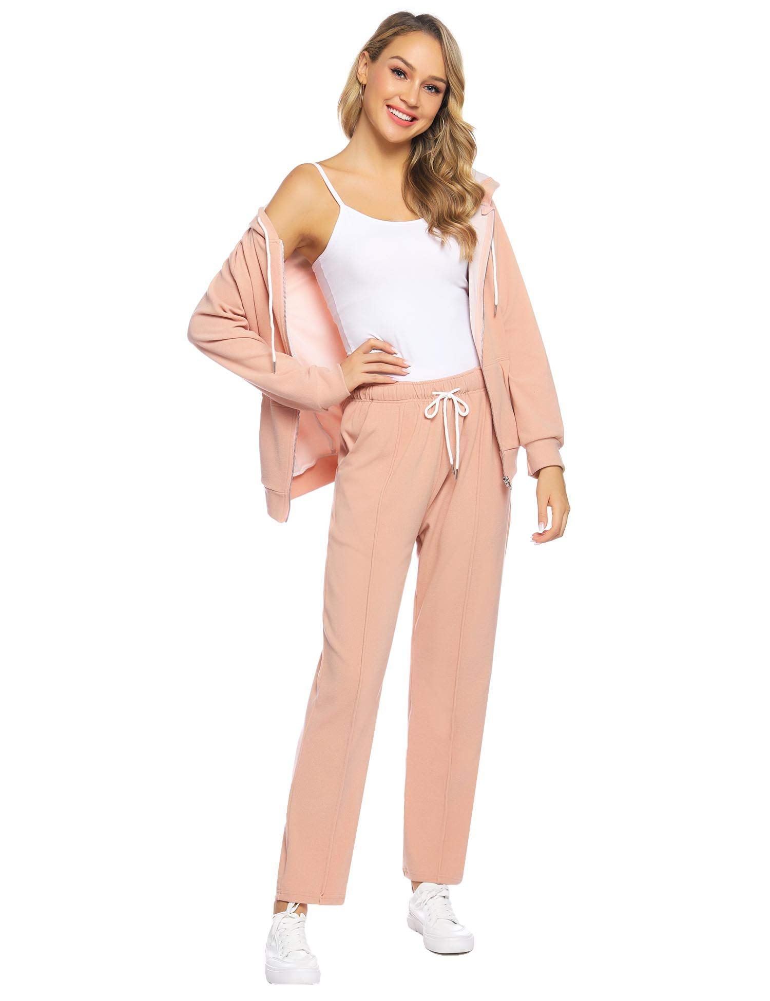 Abollria Women's Active Solid Velour Tracksuit Zip up Hoodie & Pullover Sweatshirts and Sweat Pant Sweatsuit Apricot by Abollria