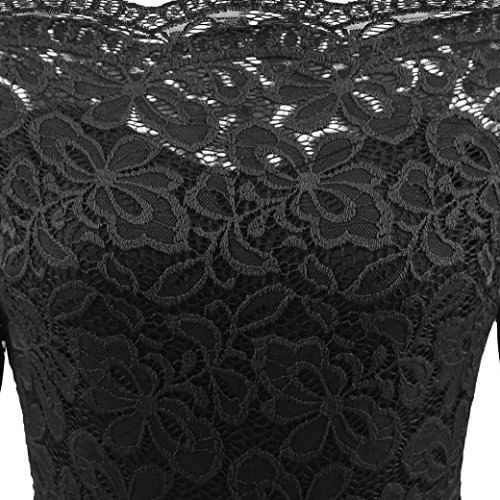 de Vestido Fossen Cuartos de Vintage Tres Manga Noche Encaje Mujer Coctel Negro Boda Elegantes Fiesta Vestidosin Tirantes H5wqtU