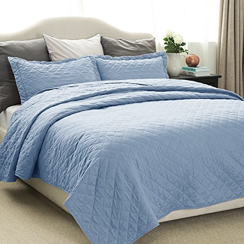 Quilt Set Solid Grayish Blue Full/Queen Size(86