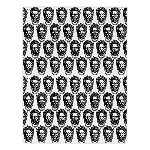 Polyester Rectangular Tablecloth,Black and White,Monochrome Medieval Knocker Old Antique Figure Head Cartouche Gothic Theme,Black White,Dining Room Kitchen Picnic Table Cloth Cover,for Outdoor Indoor