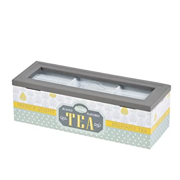 3 compartimentos caja länglich té blanco madera con cristal Tea Caja para guardar: Amazon.es: Hogar