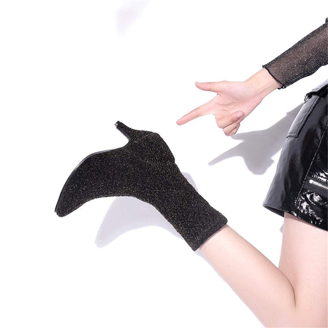 Stiefel-DEDE Stiefel d Onna Hochhackige amerikanische europäische und amerikanische Hochhackige Mode   Stiefelies mit Pailletten   Dicke Spitze Stiefel 9f573f