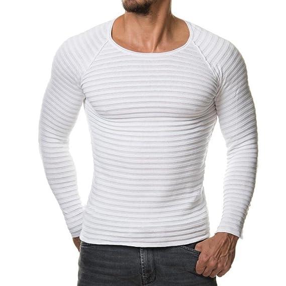 Amlaiworld_Hombre Suéteres de Hombres, otoño Invierno suéteres Casual Jersey Tops Blusa (Blanco, M