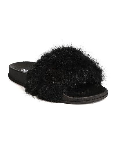 Cape Robbin Moira 2 Damens Flip Flop Marabou Fur Slide ... fb59d6