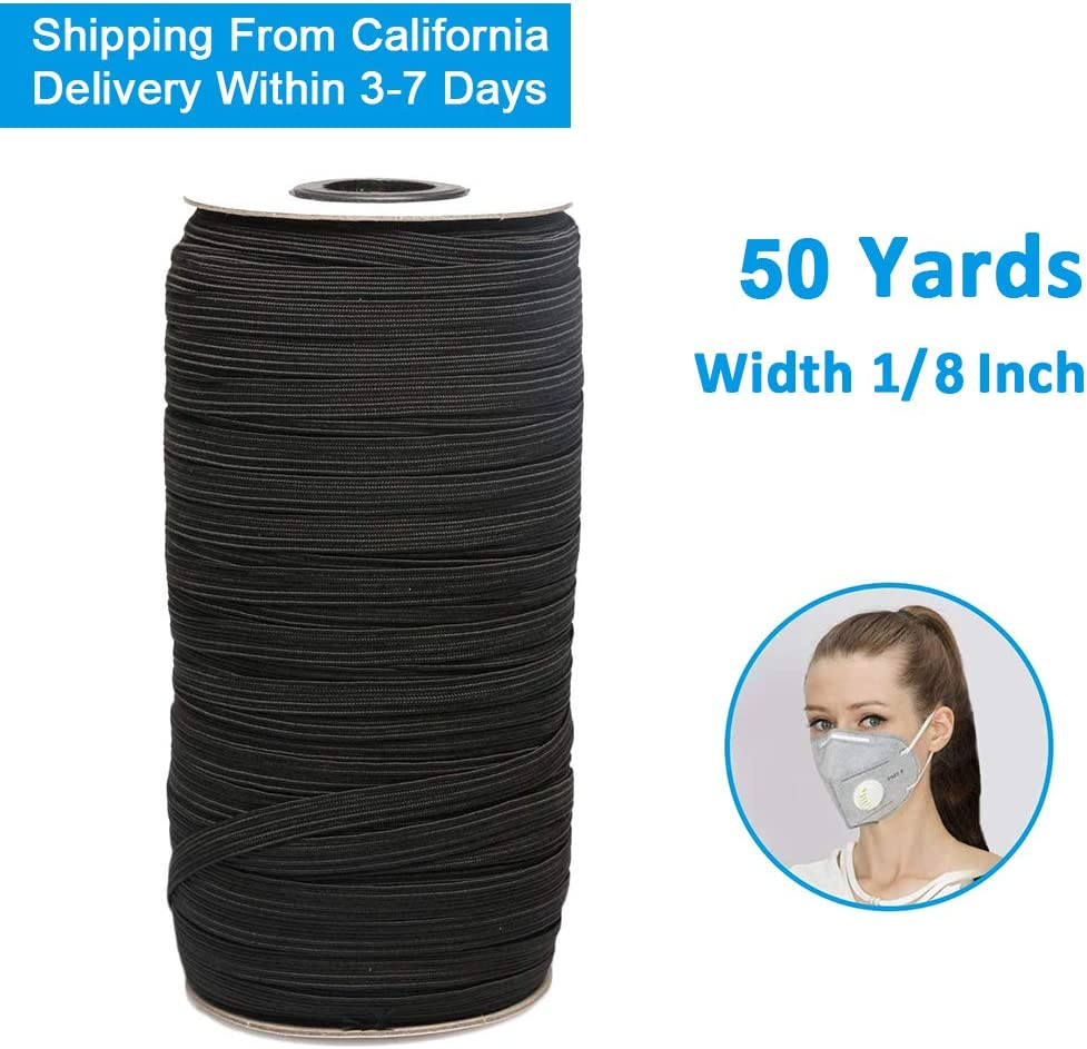 Elastic Bands for Sewing 1//8 Inch Black, 50Yards-1//8inch Bedspread Heavy Elastic String for Crafts DIY Cuff USA Stock Elastic Cord