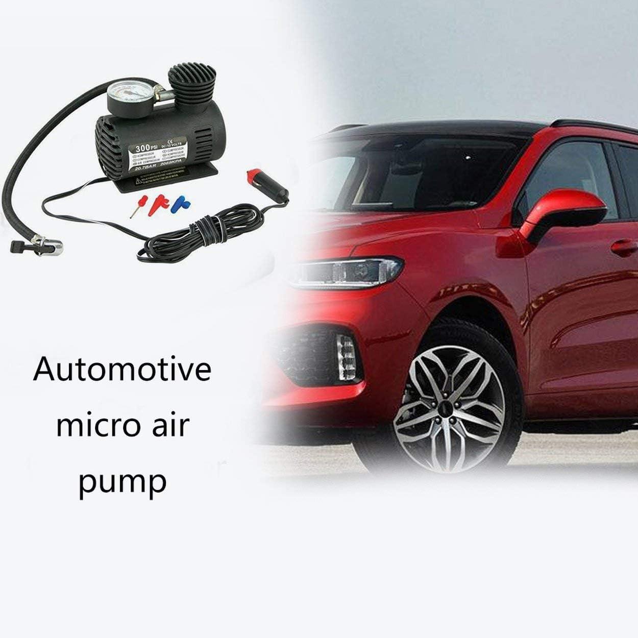Lorenlli Black Portable Versatile 12V 300PSI Car Tire Tyre Inflator Pump Mini Compact Compressor Pump Car Bike Tyre Air Inflator