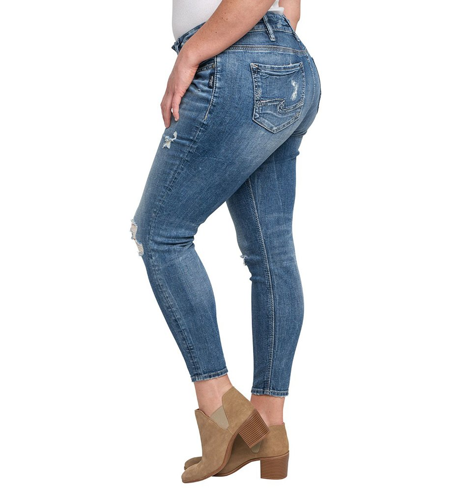 Silver Jeans Women's Plus Size Suki Mid-Rise Ankle Skinny Jeans, Destructed Medium Light Wash, 20X27 by Silver Jeans Co. (Image #2)