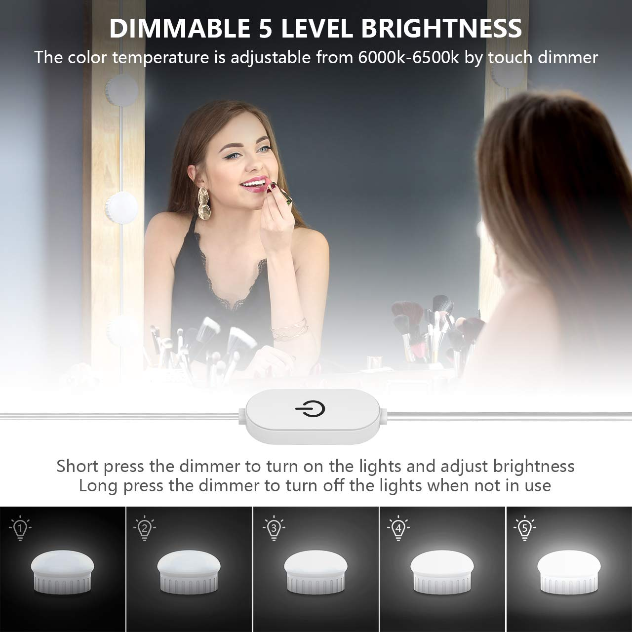 Nicewell Vanity Mirror Lights, Hollywood Style LED Makeup Mirror Lights Kit with 10 Dimmable Daylight White Light Bulbs for Vanity Table and Bathroom Dressing Room Mirror(Mirror not Included) by Nicewell (Image #2)