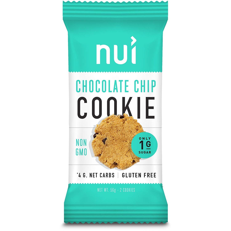 Keto Cookies, Low Carb Snacks: Crispy Chocolate Chip Cookies by Nui - Keto Snacks, Low Carb, Low Sugar, 4g Net Carbs, Gluten Free - 8 Pack (16 cookies)