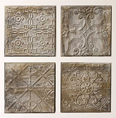 Antique Grey Square Embossed Tin Tile - Set of 4