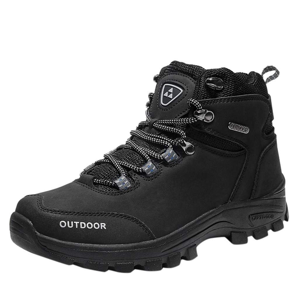 Hiking Boots,ONLY TOP Men's Outdoor Oxford Water Resistant Trekking Mid Waterproof Hiking Boots Backpacking Boots Black by ONLYTOP_Shoes