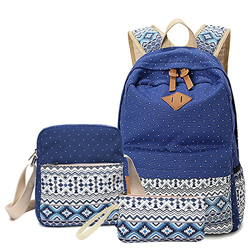 Topteck Damen Canvas Schulrucksack Mädchen Rucksäcke Set, Teenager Schulrucksack + Schultertasche + Tasche,Große 3PCS(Dunkel Blau) Dunkel Blau